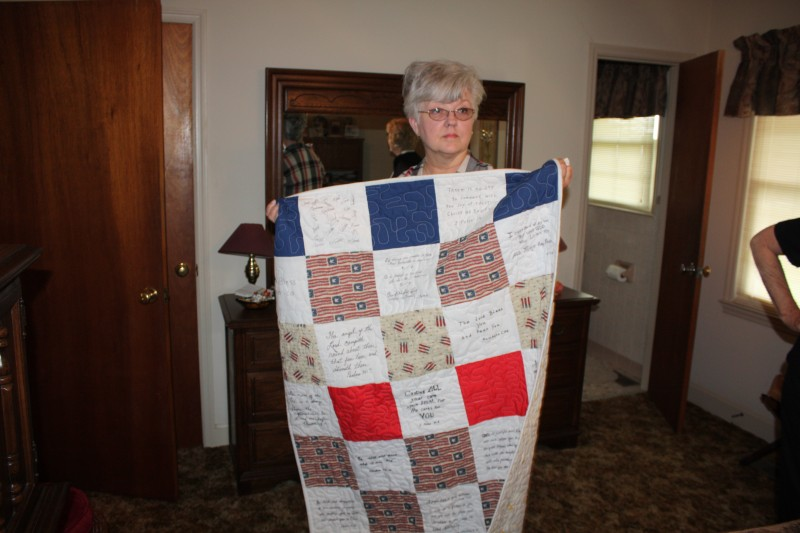 ENID EDDGEWORTH WITH QUILT