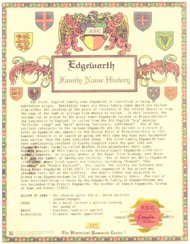 EDGEWORTH  HISTORY PAGE