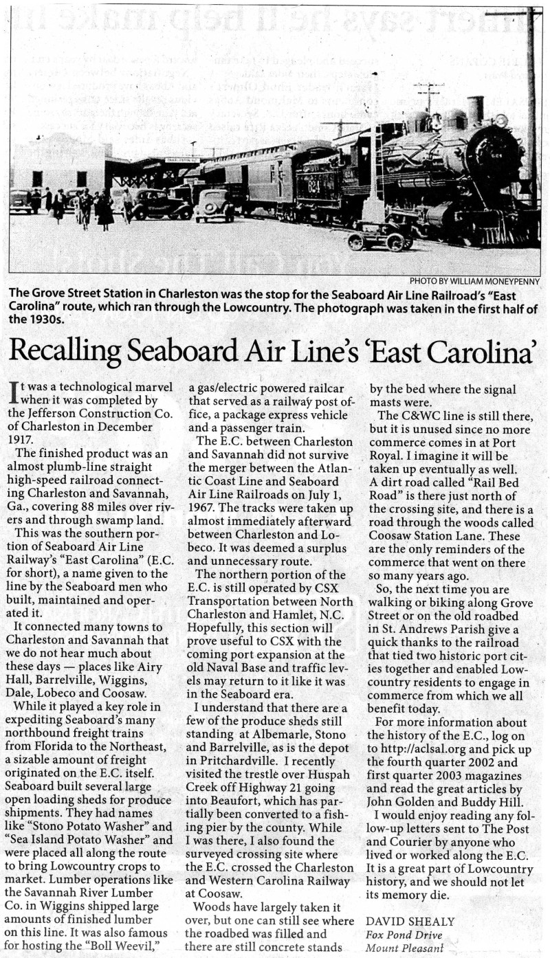 STORY ABOUT THE EAST CAROLINA R.R.